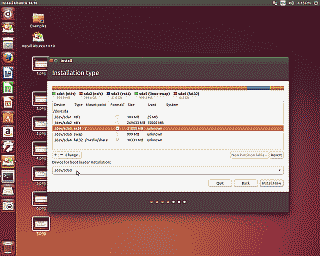 Screenshot showing the correct partition for the ubuntu bootloader installation