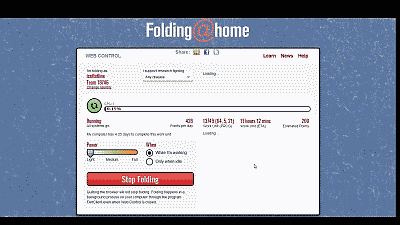 Screenshot showing the folding at home Web Control dashboard