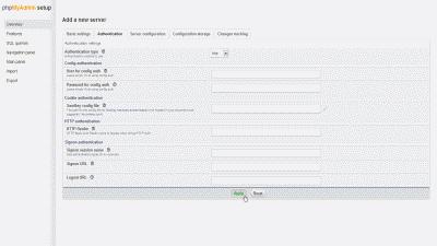 Screenshot of the phpMyAdmin setup page