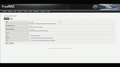 Screenshot of NFS shared path configuration in FreeNAS