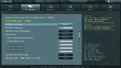 "Screenshot of the ASUS Sabertooth Z77 Ai Tweaker settings after invoking the ""Performance"" option in EZ Mode"