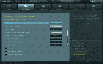 """Screenshot of the ASUS Sabertooth P67 Ai Tweaker settings after invoking the """"Performance"""" option in EZ Mode"""