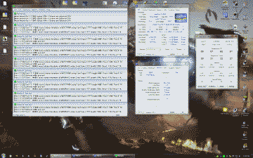 Screenshot of my desktop showing Prime 95, CPU-Z and Real Temp running simultaneously