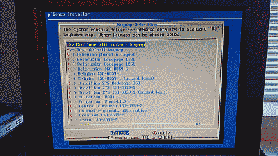 Screenshot of pfSense console menu