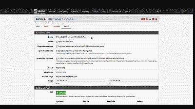Screenshot showing the creation and configuration of a DHCP server for VLAN 50 in pfSense