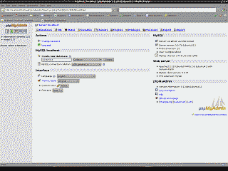 Screenshot of a database being created through phpMyAdmin