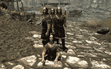 Screenshot of a Skyrim glitch showing multiple versions of the same NPC