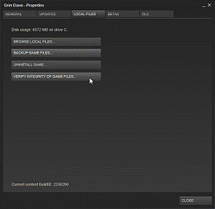 Screenshot showing the Local Files options under a game's properties settings in Steam