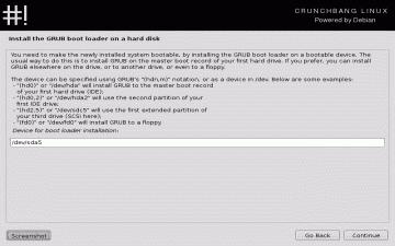 Screenshot of the CrunchBang bootloader install screen
