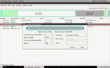 Screenshot showing the creation of a new Extended Partition in GParted