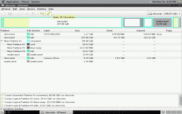 Screenshot of the new partition layout created for CrunchBang using GParted