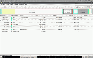 Screenshot of the new CrunchBang partitions with device names assigned by GParted