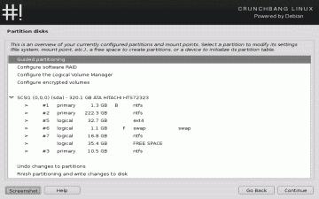 Screenshot of the CrunchBang partition preparation screen