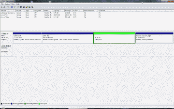 Screenshot showing the Windows partition reduced using the Windows Disk Management tool