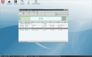 Screenshot of the GParted desktop