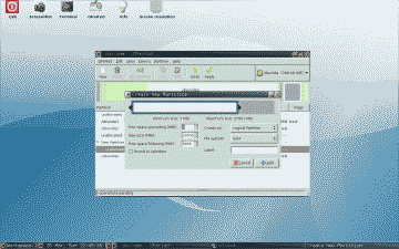 Screenshot showing the creation of a new Logical Partition in GParted