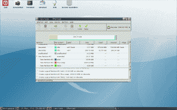 Screenshot of new Ubuntu partition layout created using GParted