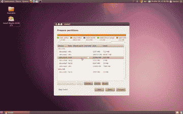 Screenshot of the Ubuntu partition preparation screen