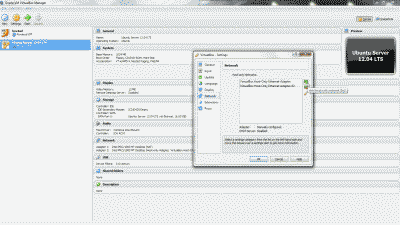 Screenshot showing the creation of a VirtualBox Host-Only Ethernet Adapter in VirtualBox