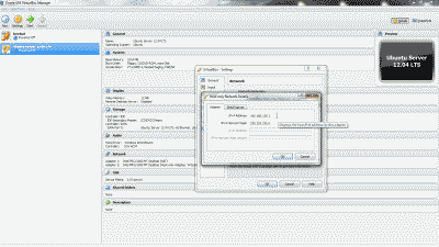 Screenshot showing the IP address and subnet mask assignment in the VirtualBox Host-Only Ethernet Adapter #2