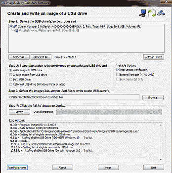 Screenshot showing how to write an image to a USB drive in ImageUSB