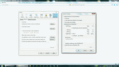 Screenshot of the Firefox network settings with manual proxy configuration
