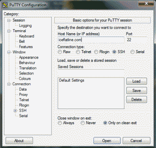 Screenshot of the PuTTY application